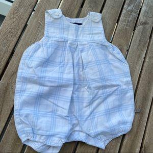 Beach wear baby grow 1 month Burberry blue linen